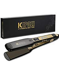 KIPOZI Professional Titanium Flat Iron Hair Straightener with Digital LCD Display, Dual Voltage, Instant Heat Up, 1.75 Inch Wide Black ()