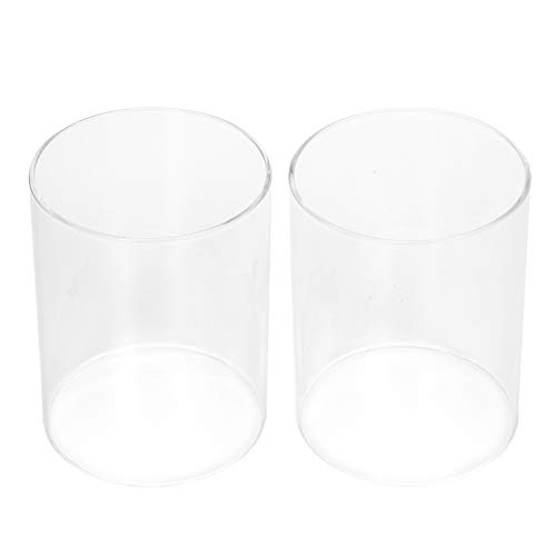 (Hosley Set of 2, 5'' High Clear Glass Hurricane Holders. Ideal Gift for Home, Spa, Weddings, Votive/Pillar Candles. O9)