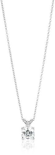 Platinum-Plated Sterling Silver and Swarovski Zirconia Solitaire Pendant Necklace, 16