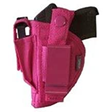 Pink Belt or Clip on Holster. This Pink Gun Holster Fits 1'' to 2.75'' Barrel Small Frame Autos. Beretta 20-21 Tomcat 3032-32 acp 20- Keltec P32-.380AT-Jennings J-22,J-25,ruger LCP 380