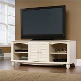 Sauder Harbor View Entertainment Credenza, Antiqued White Finish