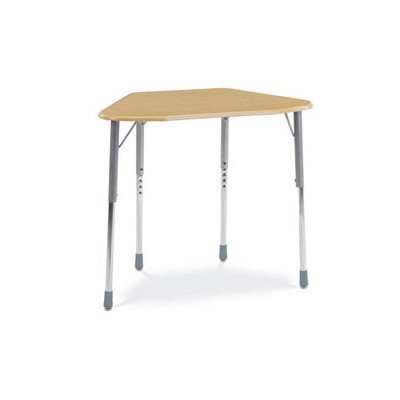 Zuma Plastic Adjustable Height Hexagonal Desk Frame Color: Silver Mist, Book Box: Navy, Desk Color: Fusion Maple