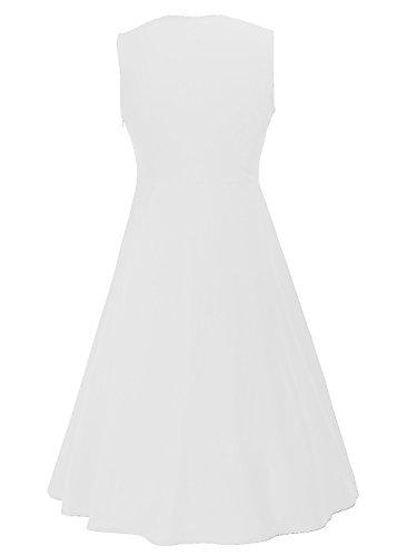 Ruiyige Mujeres Vintage Polka Dot Splicing sin mangas Tunic Fit vestido de verano vestido de swing Blanco