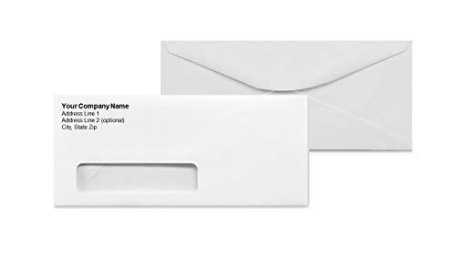 Custom Printed #10 Window Envelopes - Bright White Wove #10 Smooth Finish Professionally Printed (2500)