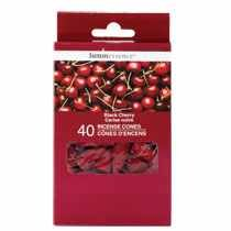 LUMINESSENCE Black Cherry Scented Incense Cones, 40-ct. (Pack of 2) (Black Cherry Incense)