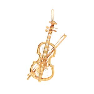 (24k Gold Plated Violin - Ornament - Clear Swarovski)