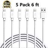 iPhone Charger,Atill Lightning Cable 5Pack 6FT iPhone Charging Cable Cord Compatible with iPhone X 8 8Plus 7 7Plus 6s 6sPlus 6 6Plus SE 5 5s 5c iPad iPod & More (white)