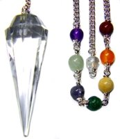 Crystal Quartz 12-facet Chakra Pendulum with Satin Bag and Instruction Leaflet for Divination ()