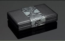 SIGLO GREY LEATHER SNAKESKIN TRAVEL HUMIDOR WITH DIGITAL HYGROMETER