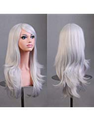 BERON Long Wavy Curly Wig High Standard Silk Female Cosplay Wig with Wig Cap (27'' Silver White) -