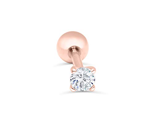 ONDAISY 14k Rosegold Plated Simulated Diamond 5mm Cz Round Circle Ball Ear Barbell Ball Stud Earring Piercing