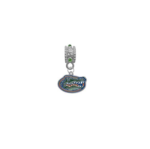 Florida Gators Green & Clear Rhinestone/Gem Charm with Connector - Universal European Slide On Charm - Classic & Original Style Perfect for Bracelets, Necklaces, DIY Jewelry