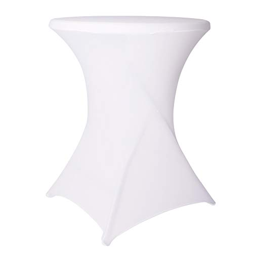- ABCCANOPY 32x43 Cocktail Spandex Stretch Square Corners Tablecloth Highboy Cocktail Tables (White)