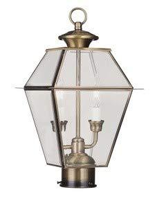 - Livex Lighting 2284-01 Westover 2-Light Outdoor Post Head, Antique Brass