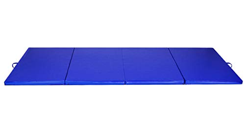 Blue 4'x8'x2 Gymnastics Mat Thick Folding Panel Gym Fitness Exercise Mat with Ebook