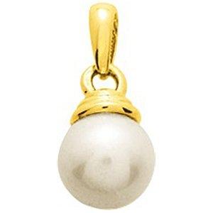 So Chic Bijoux © Pendentif Femme Calotte Epaisse & Perle Eau Douce 9 mm Crème Ivoire Or Jaune 750/000 (18 carats)