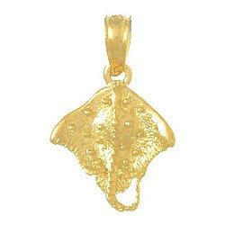 (14k Yellow Gold Charm Stingray 2-D)