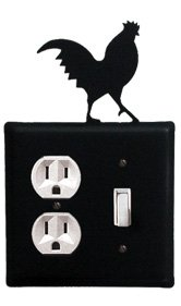 (Village Wrought Iron EOS-1 Rooster Outlet and Switch Cover - Black)