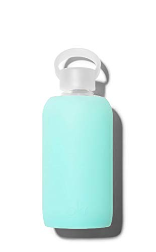 bkr BPA-Free Silicone Sleeve Glass Water Bottle, 16oz / 500 ml - Holiday - Sheer Vacation Blue
