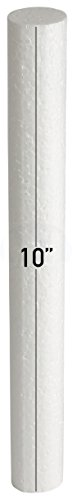 - White EPS Hard Foam Rod/Cylinder Craft 1 in Diameter by MT Products (15 Pieces) (10 inch)