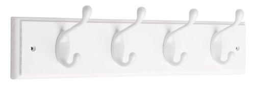 Liberty 129847 18-Inch Coat and Hat Rail/Rack with 4 Heavy Duty Hooks, White and White ()