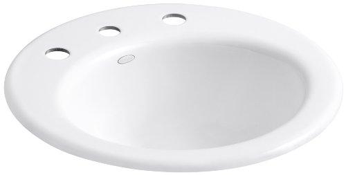 KOHLER K-2917-8-0 Radiant Self-Rimming Bathroom Sink, (Self Rimming Bar Sink Biscuit)