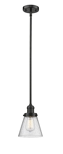 Innovations Lighting 201S-OB-G64 Small Bell - One Light Stem Mini Pendant, Oiled Rubbed Bronze Finish with Seedy Glass