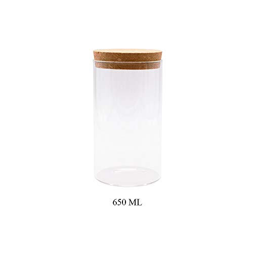 JY Collection Air Tight Storage Jar, Glass Storage Tank with a Natural Bamboo Lid, 450 ML, 500 ML, 650 ML, 700 ML, 950 ML(Cork, 650ml) -