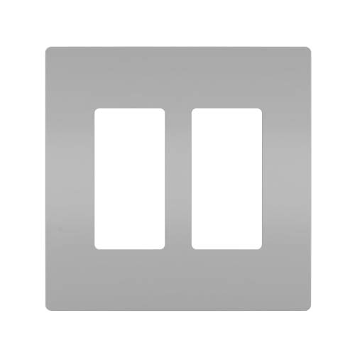 Legrand - Pass & Seymour radiant RWP262GRY Two-Gang Screwless Wall Plate, Gray -