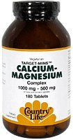 Calcium Magnesium Complex 1000mg and 500mg Country Life 180