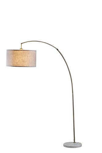 SH Lighting Metal Arching Floor Lamp with Hanging Shade & Marble Base - Features Large Drum Style Shade - 78