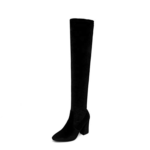 T-JULY Fashion Women Over The Knee Boots Velvet Side Zipper Thigh High Heels Shoes 7' Heel Thigh High Platform