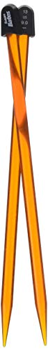 Susan Bates 15110-13 10-Inch Crystallites Acrylic Knitting Needle, 9mm, Orange (Renewed)