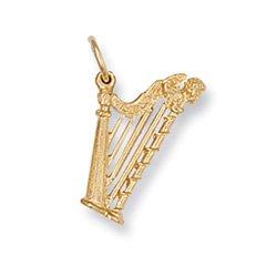 Or jaune 9 carats avec pendentif breloque harpe