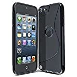 Connect Zone® S Line Silicone Gel Case Cover for iPod Touch 4 4th Generation with Screen Guard and Polishing Cloth - Black S Line Gel