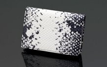 SIGLO LEATHER WHITE ANACONDA SNAKE SKIN PRINT BUSINESS CARD CASE