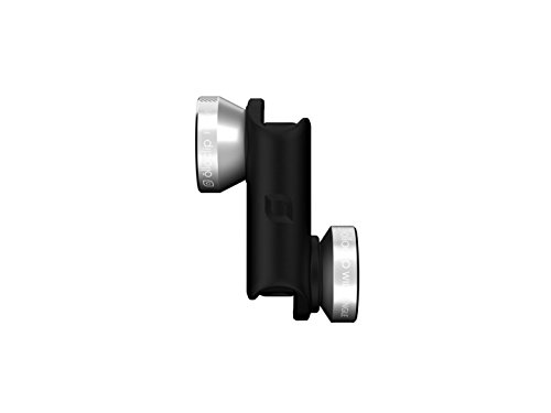 olloclip — 4-IN-1 LENS SET for iPhone 6/6s and 6/6s Plus — WIDE-ANGLE, FISHEYE and MACRO Premium Glass Lenses — Lens: Silver/Black