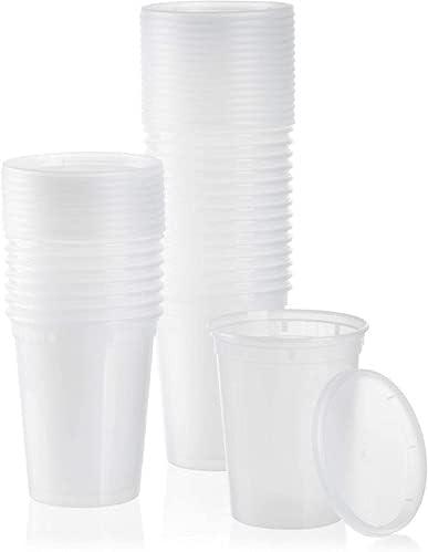 C&Z Empire (24 Set) plastic Deli Containers with Lids(32oz)