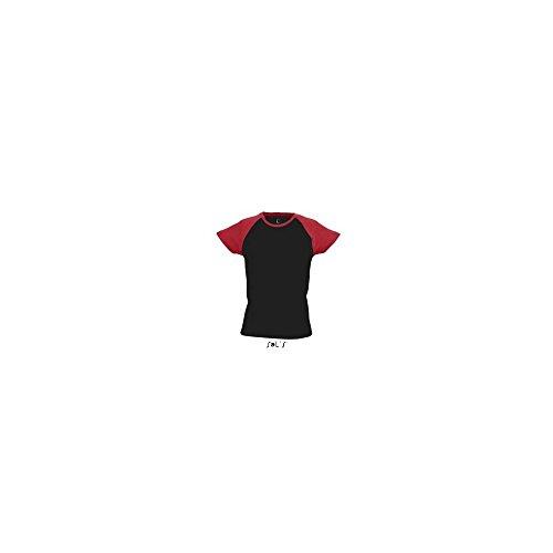 SOL'S - Camiseta - redondo - para mujer negro/rojo