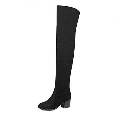 De EU34 Invierno Redonda Botas Botas High Zapatos 4 Vestimenta Casual Moda Nubuck US4 Marrón 5 De Thigh Botas Negro Talón De Para UK2 2 Cuero RTRY Chunky Otoño CN33 Puntera 5 Mujer wtUpqZZz
