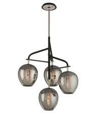 Troy Lighting Odyssey 24W 4-Light Pendant - Carbide Black and Polished Nickel with Plated Smoked Glass by Troy