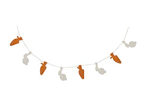 De Kulture Handmade Felt Easter Bunny and Carrot Garland (48 inches Long) for Easter Decoration Home Decoration Party Decoration ()