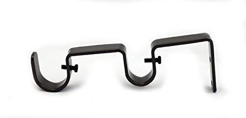 """Heavy Duty Steel Double Drapery Curtain Rod Bracket, for 1"""" or 3/4"""" rod (BRONZE)"""