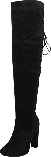Cambridge Select Women's Thigh High Back Corset Lace Chunky High Heel Over The Knee Boot,9 B(M) US,Black IMSU