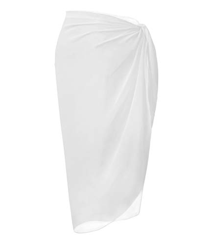 Multi Scarf - LIENRIDY Women's Chiffon Pareo Beach Wrap Sarong Swimsuit Scarf Cover Up White Middle Plus Size