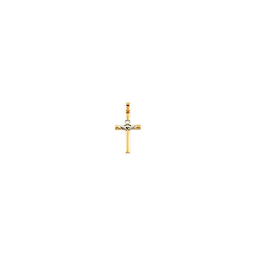 14K Yellow Gold & White 25x16mm Hollow Claddagh Cross Pendant