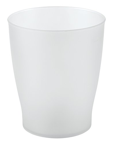Wastebaskets Kids (mDesign Slim Round Plastic Small Trash Can Wastebasket, Garbage Container Bin for Bathrooms, Powder Rooms, Kitchens, Home Offices, Kids Rooms - Frosted Clear)