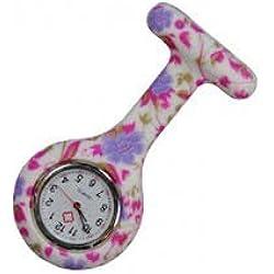 Silicone Watch Nurse Doctor Paramedic Tunic Brooch Fob Watch Medical (Pale Purple)