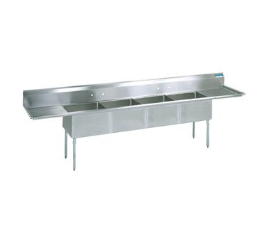 BK Resources Stainless Steel Four Compartment NSF Sink With 18'' Left & Right Drainboards