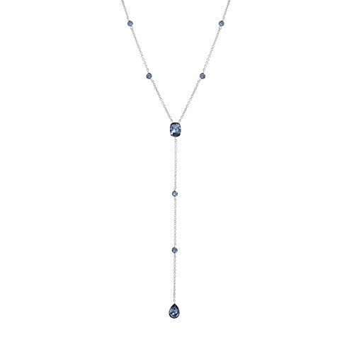 (Devin Rose Y Style Teardrop Cable Chain Necklace for Women in Rhodium Plated Brass Made with Swarovski Crystal (Color: Denim)